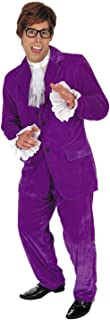 Mens 60s Movie Gigolo Costume Adults Man of Mystery Purple Suit Outfit