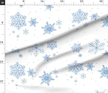 Spoonflower Fabric Upholstery Home Decor Bottomweight Apparel Snowflake White Silver Winter Holiday Christmas Printed on Basketweave Cotton Canvas Fabric by The Yard