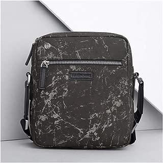 Men's Vintage School Messenger Bag Shoulder Strap Multi-Functional Casual Fashion Travel Bag (Color : Black, Size : S)
