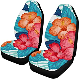 INTERESTPRINT Hawaiian Pattern with Exotic Tropical Plants and Hibiscus Flowers Auto Seat Covers 2 pc,Universal fit for Vehicles, Sedan and Jeep
