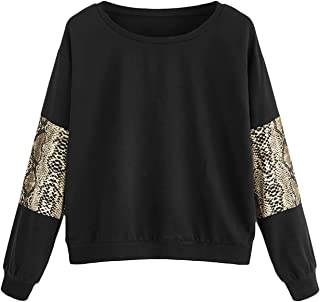 Women's Leopard Print Sleeve Lightweight Pullover Sweatshirt Tops
