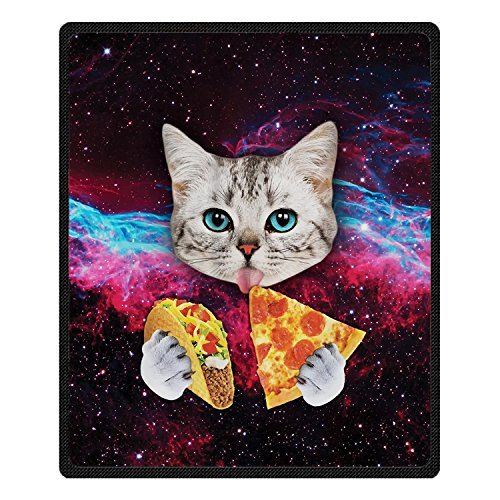 """BEEBEE Velvet Plush Throw Blanket with Universe Starry Cat Eat Pizza Bed Blankets Super Soft and Cozy Fleece Feeling Blanket for Travelling 58' x80"""" (5)"""
