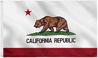 Jetlifee California State Flag 3x5 Ft by U.S. Veterans Owned Biz. Double Sided Embroidered Sewn Stripes and Brass Grommets...