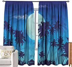 Andrea Sam Eclipse Curtains Dark Blue,Full Moon Twilight Scene Bedroom Blackout Curtains,W96 x L108 inch