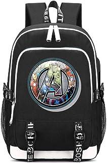 Mochila Escolar Avengers Final del Juego Superhéroe Mochila de Ordenador portátil Impresa multifunción con Puerto de Carga USB y Puerto para Auriculares 2 Líneas Negro4