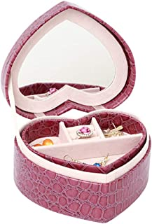 Jewellery Box for Kids, Jewellery Box Heart Shaped Travelling Case and Display with Mirror for Earrings Watch Necklace Jewels Bracelets