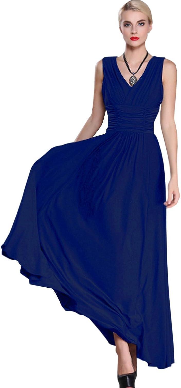 Unomatch Women Fit Sexy Vneck Pleated Waist Halter Long Dress bluee