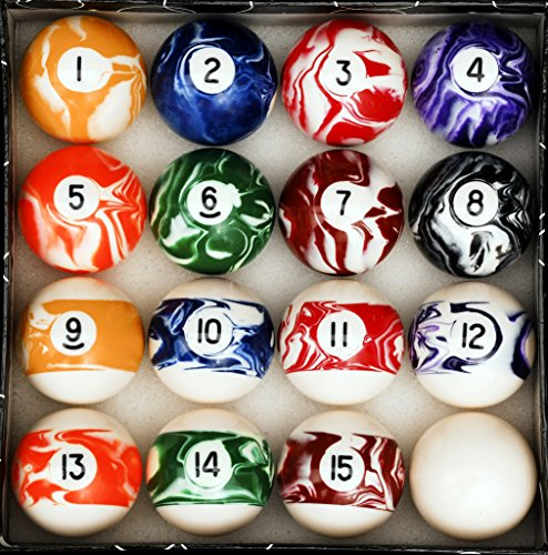 Iszy Billiards Pool Table Billiard Ball Set, Marble/Swirl Style