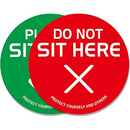 """Free Shipping Plastic 24pk Social Distancing Signs """"Do Not Sit Here/"""""""