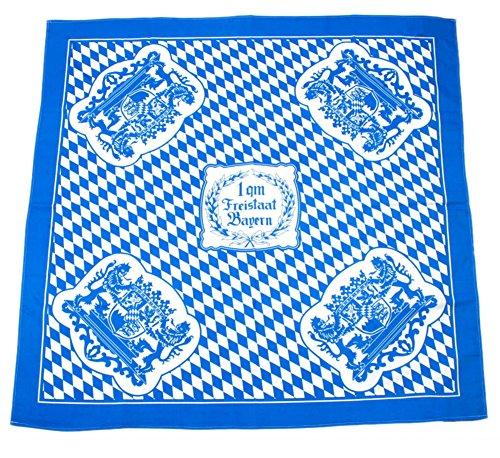 Bavariashop Tischdecke 1 qm Bayern, 1 x 1 Meter, Rauten, Weiß Blau, 100% Baumwolle, Picknick, Bayerische Dekoration