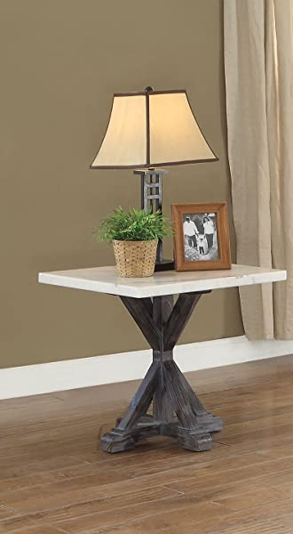 ACME Furniture 84547 Romina End Table White Weathered Espresso