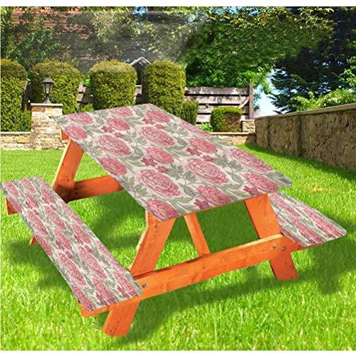 LEWIS FRANKLIN - Cortina de ducha victoriana de lujo para picnic, mantel, diseño de botánica, diseño de peonías románticas y bordes elásticos, 60 x 172 pulgadas, juego de 3 piezas para mesa plegable