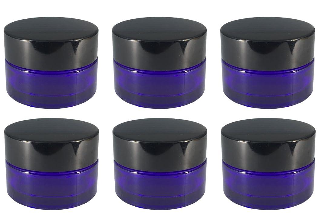 横たわる会話型ポインタクリーム容器 遮光ジャー 6個セット アロマクリーム ハンドクリーム 遮光瓶 ガラス 瓶 アロマ ボトル ビン 保存 詰替え パープル (20g)