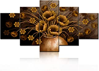 Home Decoration for Living Room Yellow Flowers Wall Prints Picture Old Vintage Canvas Painting Abstract Plants Artwork Mul...