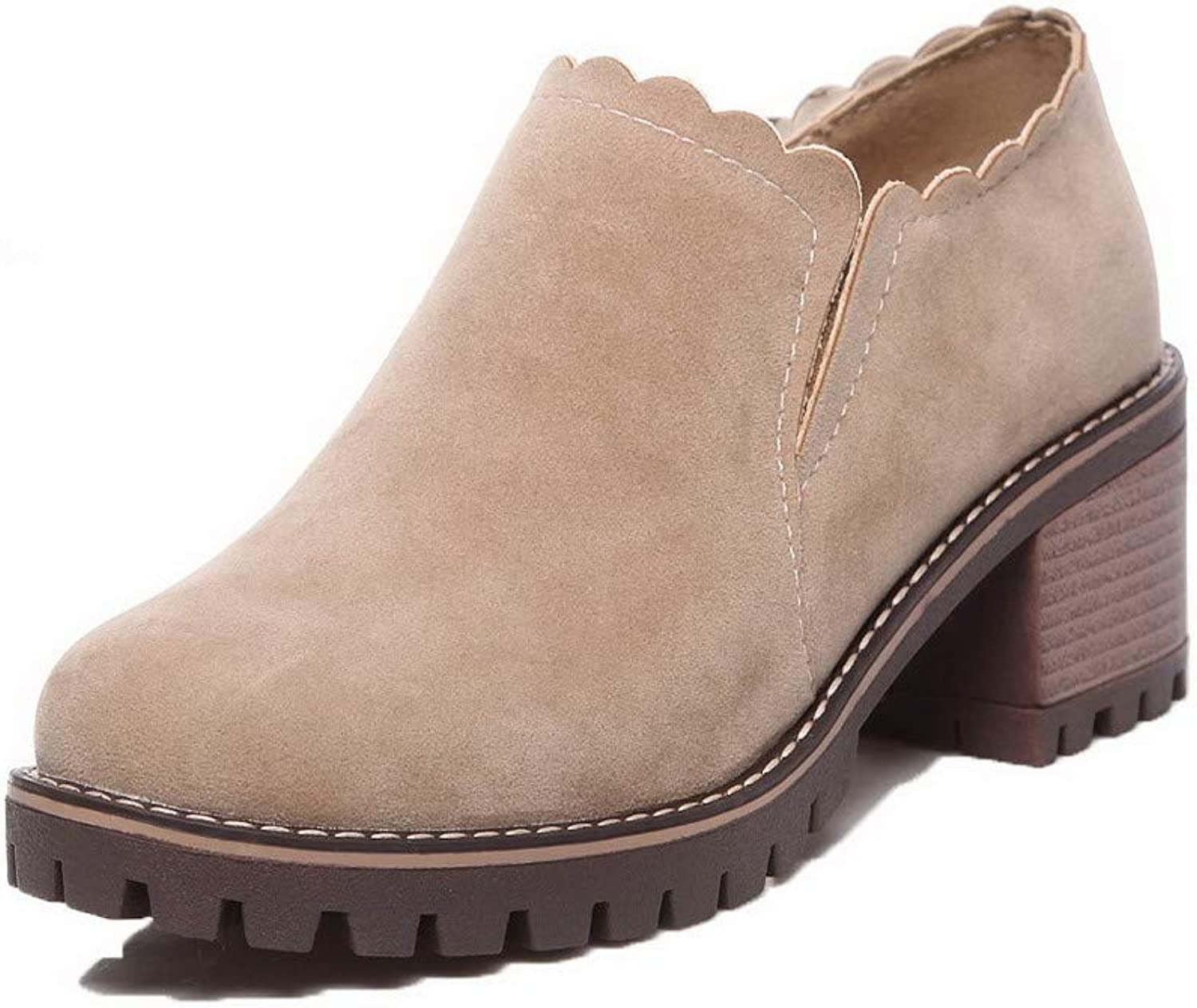 WeenFashion Women's Ankle-High Pull-On Frosted Kitten-Heels Round-Toe Boots, AMGXX112233