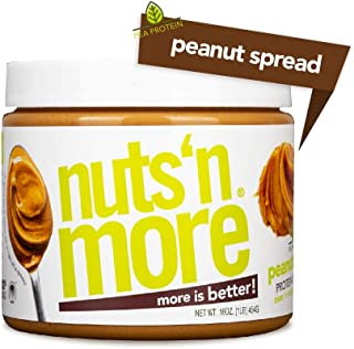 Nuts 'N More Plant Based Protein Peanut Butter Spread, Vegan All Natural High Protein Nut Butter Healthy Snack, Dairy-Free, Omega 3's, Antioxidants, Low Carb, Low Sugar, Gluten-Free, Non-GMO,16 oz Jar