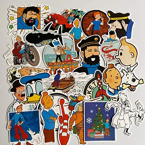 GUANG Las Aventuras de Tintin Pegatinas Equipaje Maleta Trolley Maleta Equipaje contraseña Caja portátil Pegatina Impermeable