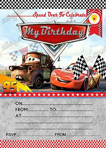 Fiesta de cumpleaños invitaciones Disney Cars Rayo McQueen Disney Cars 8tarjetas y libre sobres, 56