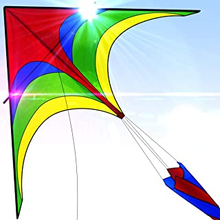 Easy To Fly Large Nylon Eagle Kite For Kids and Adults For Beach Trip & Outdoor Activities Perfect for Beginners Flies High in Light Breeze Flying String Line Included Big Flyer Childrens Toys