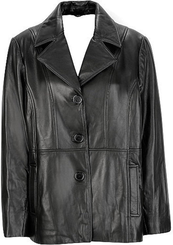 Fadcloset Ladies 3 Button Leather Blazer Coat