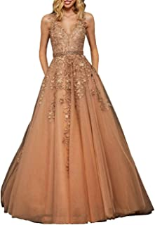 Nanger Vestido de novia de tul para mujer, línea A, con apliques
