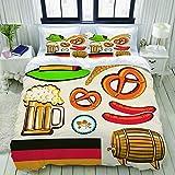 Copripiumino, simbolo dell'Oktoberfest, salsiccia di grano, birra e salatini, composizione bavarese colorata, set di biancheria da letto, set di copripiumini in poliestere, ultra comodi e leggeri (3 p