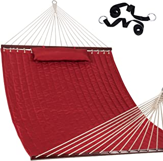 """Lazy Daze Hammocks 55"""" Double Size Quilted Fabric Hammock with Hardwood Spreader Bar and Poly Head Pillow Stylish for Two Person, Red"""