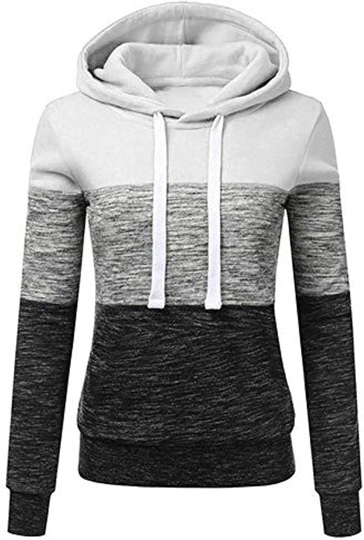 Hoodies for Women,Women's Pullover Long Sleeve Fall Hoodies Color Block Tunics Loose Casual Sweatshirts