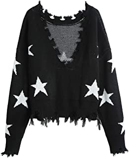 ZAFUL Women's Star Graphic V-Neck Ripped Knit Sweater Frayed Cropped Pullover