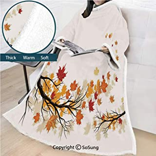 Fall Premium Sherpa Deluxe Fleece Blanket with Sleeves,Swirling Bended Fall Tree Branches with Colored Leaves Pastoral Season Theme Decorative Throws Wrap Robe Blanket for Adult Women,Men,Marigold Dar