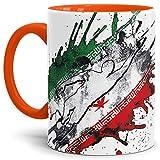 Tassendruck Flaggen-Tasse Fussballer -Iran - Fahne/Länderfarbe/WM 2018/Weltmeisterschaft/Cup/Tor/Innen & Henkel Orange - Qualität Made in Germany