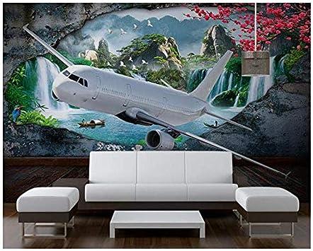 Amazon Com Pwmunf Mural De Pared Personalizado Cascada Que Fluye El Agua Aviones Foto Pared Mural Sala De Estar Paisaje 3d Papel Pintado 141 7x98 4 In Home Improvement