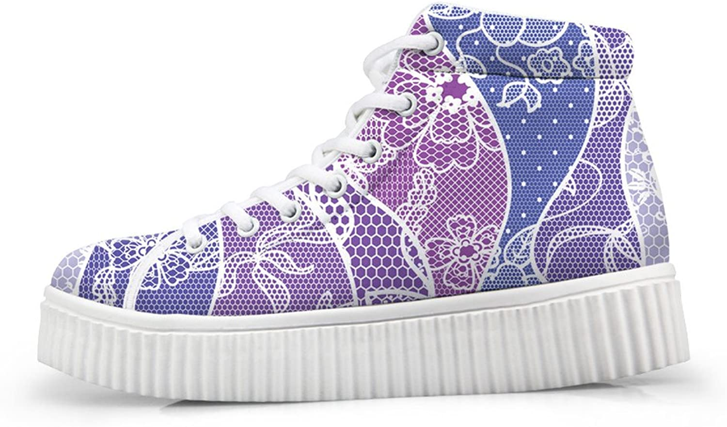 Fashion Floral Print Lace Up High Top Women Sneaker shoes Size 5
