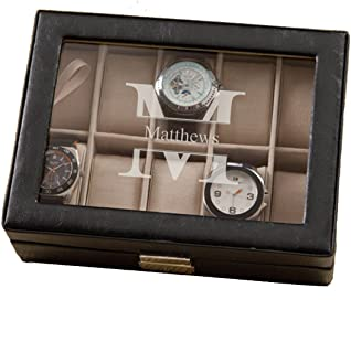 Monogrammed Leather Watch Box and Watch Case - Personalized Watch Box