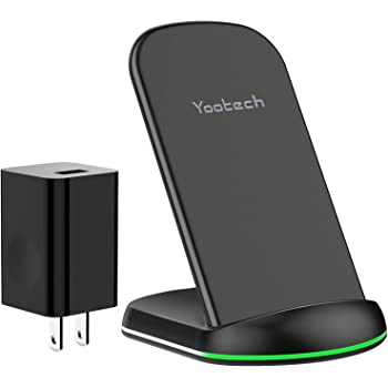 Yootech Wireless Charger, 10W Max Qi-Certified Wireless Charging Stand with QC3.0 AC Adapter,Compatible with iPhone SE 2020/11/11 Pro/11 Pro Max/XR/XS Max/XS/X, Galaxy S20/Note 10/Note 10 Plus/S10/S9