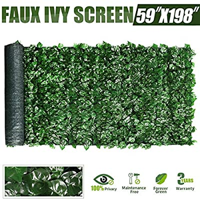 AMGO 39' x 118' Artificial Hedges Faux Ivy Leaves Fence Privacy Screen Cover Panels Decorative Trellis - Mesh Backing - 3 Years Full Warranty