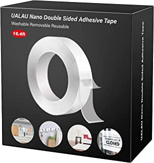 Double Sided Tape Heavy Duty - UALAU Traceless Removable Washable Nano Gel Grip Tape, Clear Sticky Adhesive Mounting Tape ...