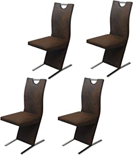 Sillas De Comedor Sillas De Comedor 4 Piezas Sillas Laterales con Panel Trasero Tapizado Marrón De Tela para La Ceremonia De La Cocina