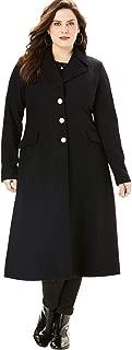 Roamans Women's Plus Size Long Wool-Blend Coat