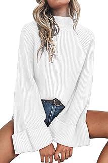 QINSEN Women's Oversized Drop Shouler Round Neck Long Sleeve Pullover Sweater Knit Tops