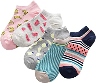 Women's 5 Pack Cartoon Cat Striped Fun Letters Colorful Cotton Casual Ankle Socks