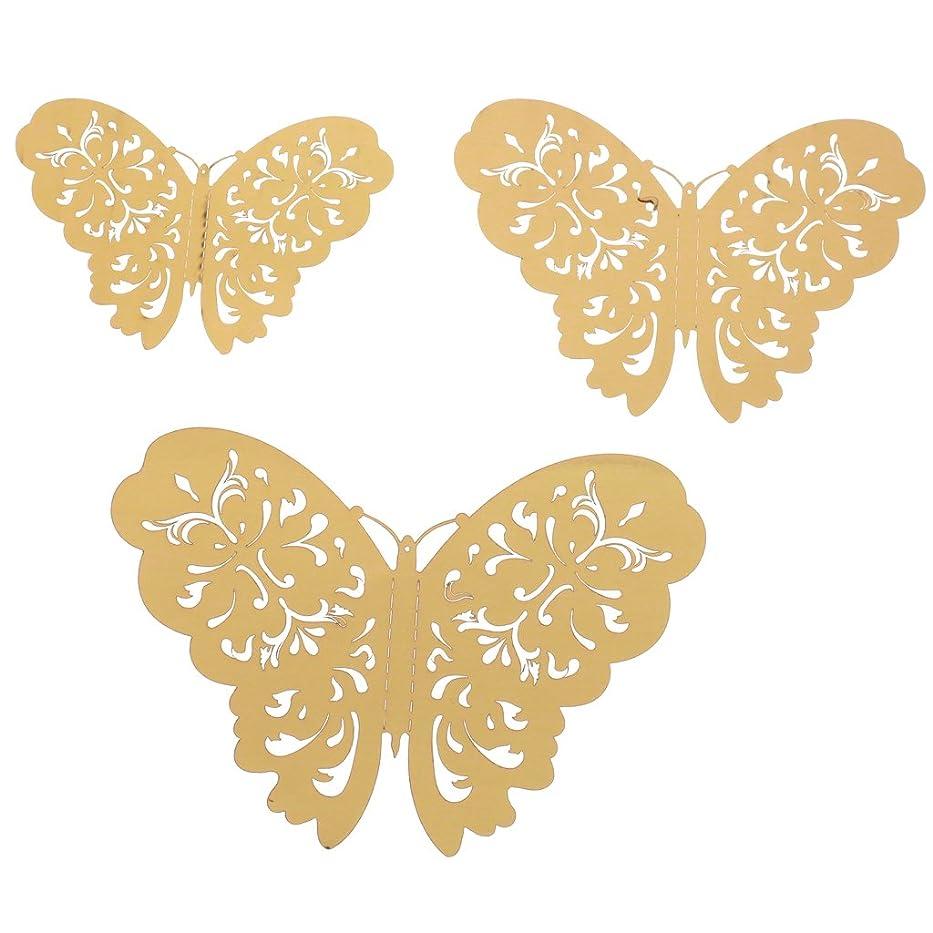 アンペア叙情的な共役Perfeclan 美しい 3D バタフライ ウォールステッカー 結婚式 誕生日 ベビーシャワー 完璧 装飾 12枚入り 3種類 - ゴールド, 説明したように