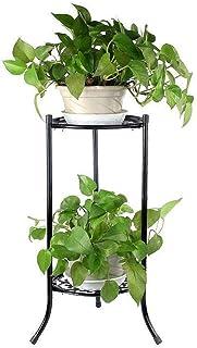 Lixada 2 Holder Metal Plant Pot Stand Rustproof Durable Flower Display Shelf Iron Art Planter Stand Rack for Indoor Outdoo...