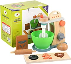 TOYMYTOY Wood Kitchen Pretend Toy Bake-Cookie Mixer Set Egg Rolling Pin Cookie Set Interactive Early Learning Toy Girls Bo...