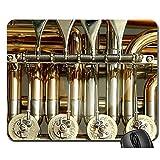 OKME Custom Alfombrilla para Ratón,Válvulas Rotativas Válvulas De Tuba Stimmzug Instrumento De Latón Alfombrilla De Ratón para Juegos Cómoda,18X22Cm