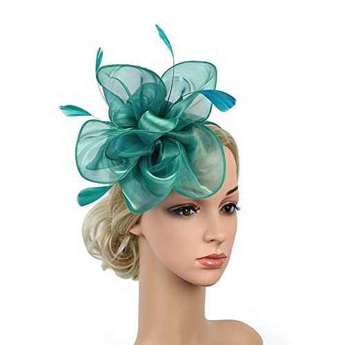 84fd56f816b23 CHUANGLI Elegant Flower Feather Fascinator Headband Hair Hoop Derby Hat  with Clip for Wedding Cocktail Party