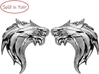 UpAuto 2pcs Cool Wolf Head Car Side/Rear/Front Decorations Badge Emblem 3D Self-Adhesive Nameplate Sticker for Car (Silver)