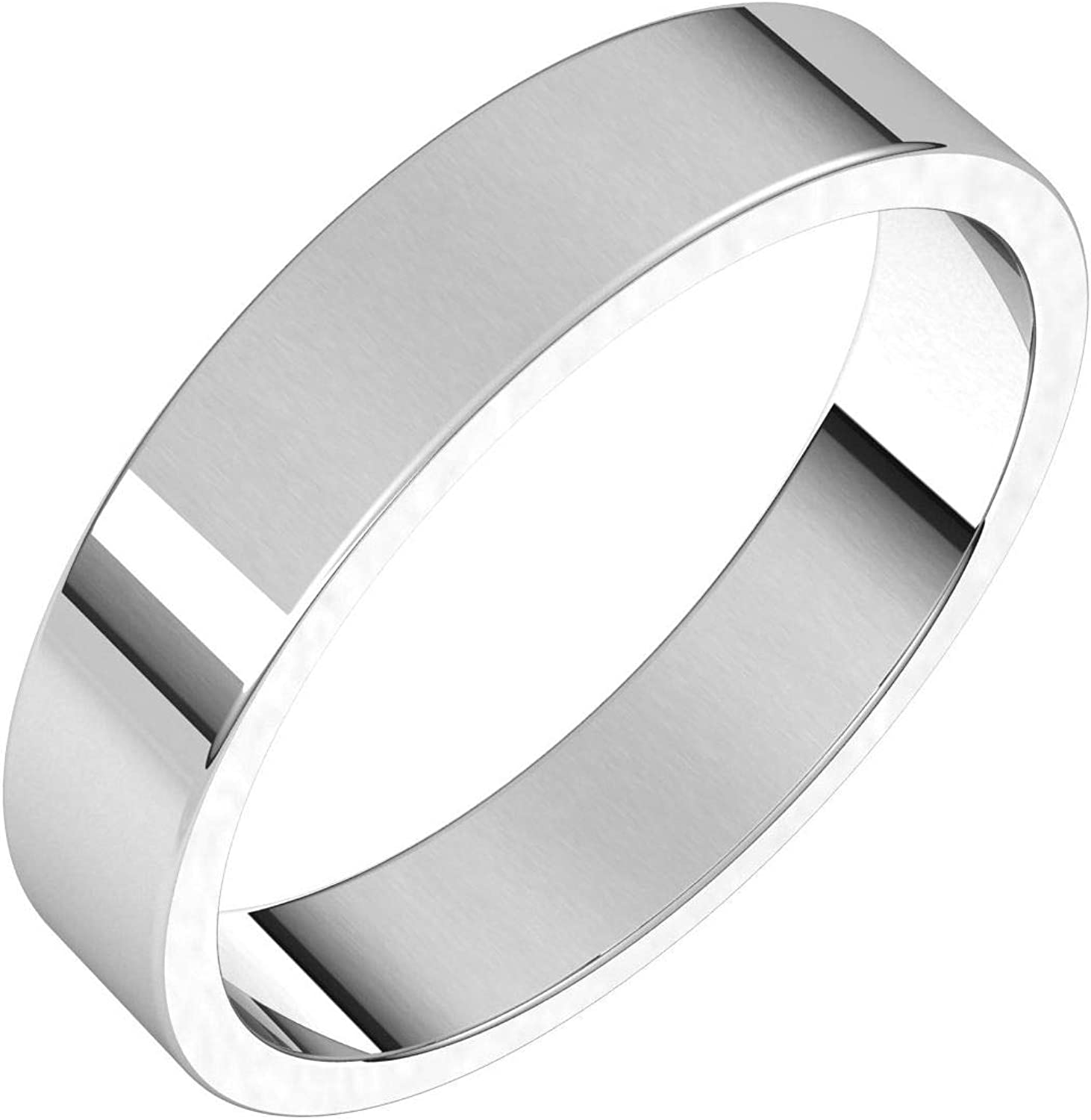 Diamond2Deal 14K White 4 mm Flat Wedding for Baltimore Mall Women Al sold out. Band Ring