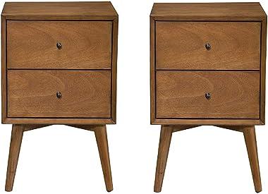 Alpine Furniture Flynn Mid Century Modern 2 Drawer Nightstand, Acorn (2 Pack)