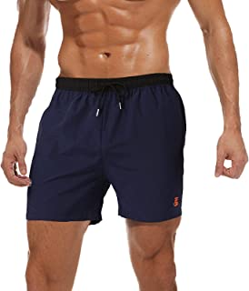 JustSun Mens Swim Shorts Waterproof Beach Shorts Quick Dry Swimming Trunks with Pockets